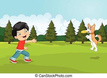 caricatura, menino, jogando frisbee, com, olá