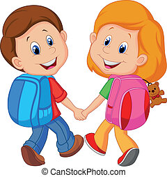 caricatura, menino menina, com, mochilas