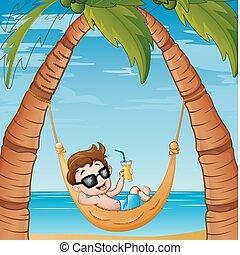 caricatura, menino, relaxante, ligado, rede, praia, com, um, bebendo, coquetel