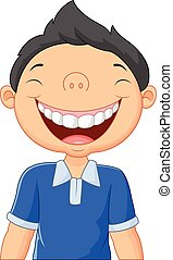 caricatura, menino, rir