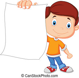 caricatura, menino, segurando, em branco, papel