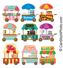 caricatura, mercado, loja, car, ícone, cobrança