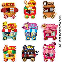 caricatura, mercado, tienda, coche, icono, colección