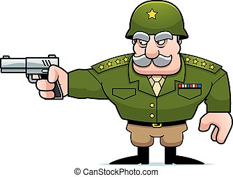 caricatura, militar, general, disparando