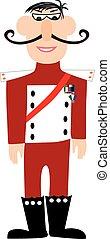caricatura, militar, general, en, uniforme