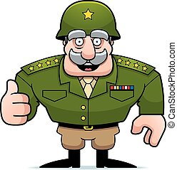 caricatura, militar, general, pulgares arriba