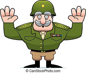 caricatura, militar, general, rendición