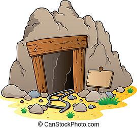 caricatura, mina, entrada