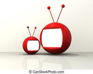 caricatura, monitores