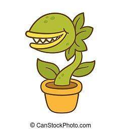 caricatura, monstruo, planta