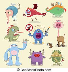 caricatura, monstruos, colección