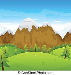 caricatura, montañas, paisaje
