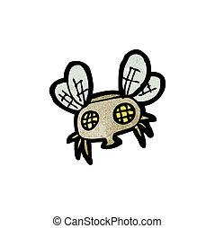 caricatura, mosca