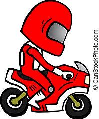 caricatura, moto