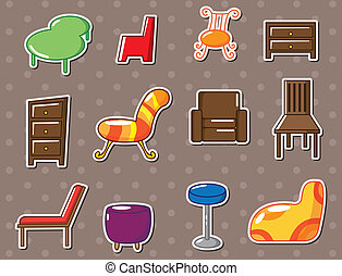 caricatura, muebles, pegatinas