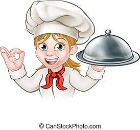 caricatura, mujer, chef, placa de valor en cartera, o,...