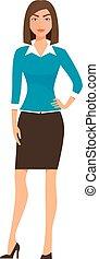 caricatura, mujer de negocios, carácter, aislado, blanco, fondo., vector