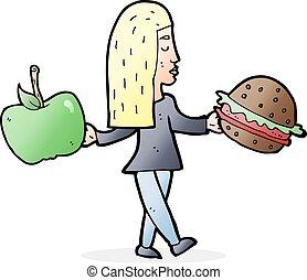 caricatura, mujer, decidir, para comer, sano