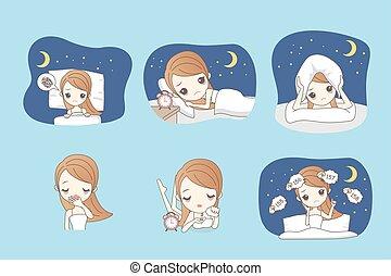 caricatura, mujer, insomnio