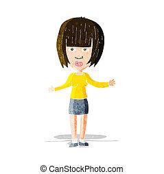 caricatura, mujer se encoger de hombros, hombros