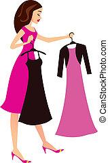 caricatura, mulher, escolher, vestidos
