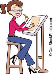 caricatura, mulher, retro, escrita
