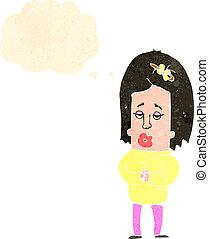 caricatura, mulher, retro, preocupado