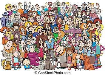 caricatura, multitud, gente