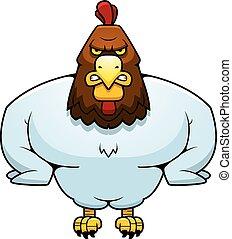 caricatura, muscular, gallo