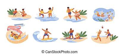 caricatura, nade, blanco, surf., vector, ilustraciones, construya, aquapark, aislado, lindo, verano, niños, diapositiva, mar, recreation., hermanos, juegos, castillo, plano, playa., zambullida, escena, niñez, arena, juego
