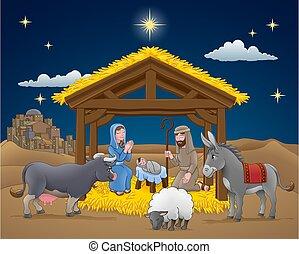 caricatura, natividad, escena navidad