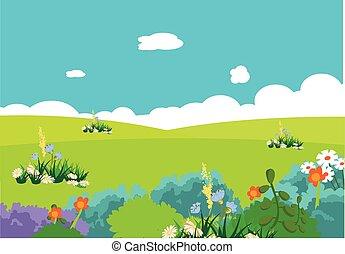 caricatura, natural, paisaje