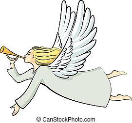caricatura, navidad, ángel