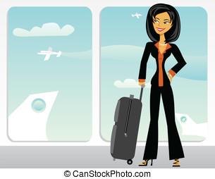 caricatura, negócio asiático, mulher, em, um, aeroporto
