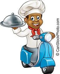 caricatura, negro, entrega, ciclomotor, patineta, chef