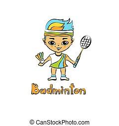 caricatura, niña, bádminton, jugador
