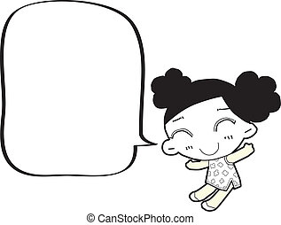 caricatura, niña, con, burbuja del discurso