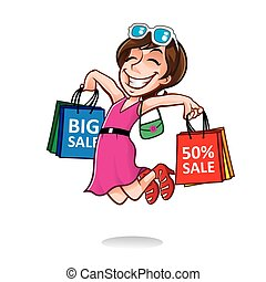 caricatura, niña, feliz, comprador