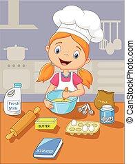 caricatura, niña, hornada
