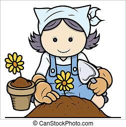 caricatura, niña, jardinería, -, vector