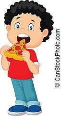 caricatura, niño, comer pizza