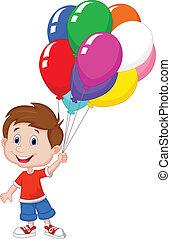 caricatura, niño, con, ramo, colorido
