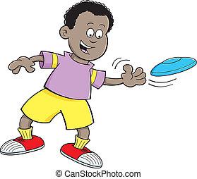 caricatura, niño, lanzamiento, un, disco volador