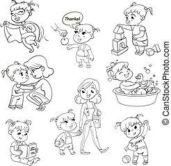 caricatura, niño, rutina diaria, actividades, conjunto