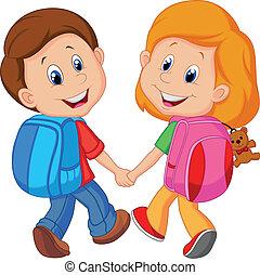 caricatura, niño y niña, con, mochilas