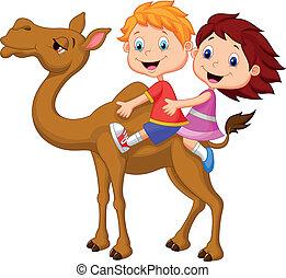 caricatura, niño y niña, equitación, camello