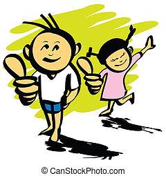 caricatura, niño y niña, mano, dibujado, vector