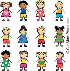 caricatura, niños, conjunto