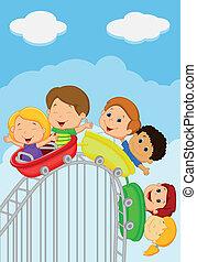 caricatura, niños, equitación, montaña rusa