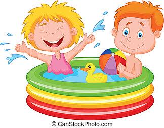 caricatura, niños, juego, inflatab
